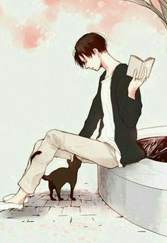 Levi Ackerman, book, cat, neko; Attack on Titan