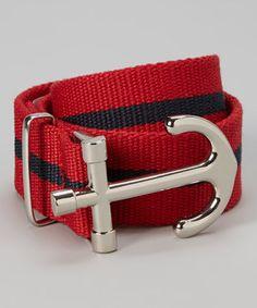 Look at this #zulilyfind! All Navy Red Stripe Anchor-Buckle Belt by All Navy #zulilyfinds
