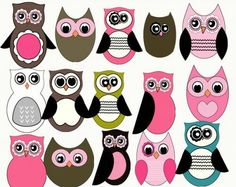 Brown pink white and black owls