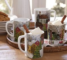 Winter Village Mugs, Set of 4, benefiting Give a Little Hope campaign #potterybarn