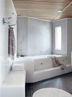 bathroom bliss (via Koti ja keittiö) - my ideal home. Bathroom Toilets, Laundry In Bathroom, H Design, House Design, My Ideal Home, Bathroom Tile Designs, Best Bath, Beautiful Bathrooms, Serene Bathroom