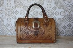 Vintage Tooled Leather Doctors Bag Style Purse by pursuingandie, $46.50