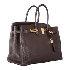 Love This Forever Hermes Birkin Bag Chocolate 35cm W Gold Hardware | From a collection of rare vintage handbags and purses at http://www.1stdibs.com/fashion/accessories/handbags-purses/