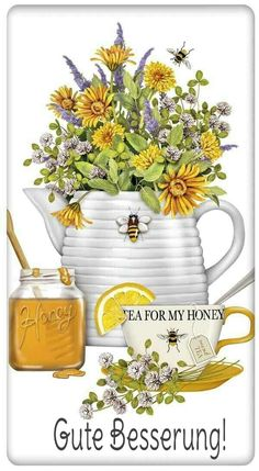 Honey Tea and Flowers 100 Cotton Flour Sack Dish Towel Tea Towel Decoupage Vintage, Dish Towels, Tea Towels, Tee Kunst, Bee Skep, Bee Art, Flour Sack Towels, Flour Sacks, Save The Bees
