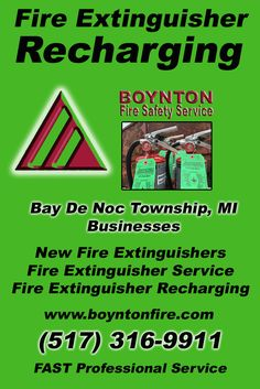 Fire Extinguisher Recharging Bay De Noc Township, MI (517) 316-9911 Local Michigan Businesses Discover the Complete Fire Protection Source.  We're Boynton Fire Safety Service.. Call us today!