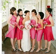 adorable pink bridesmaid dresses from TheKnot.com Real Weddings