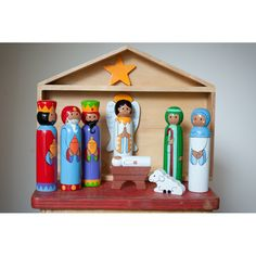 Wooden stable nativity