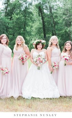 Beautiful long chiffon bridesmaid dresses in blush.   Kennedy Blue Bridesmaids   Stephanie Nunley Photography