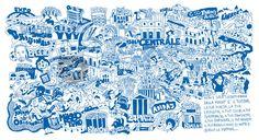 """""""milano map"""" Zeichnung von Daniele Attia jetzt als Poster, Kunstdruck oder Grußkarte kaufen.."""