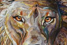 crochet lion face detail by artist Wilma Poot