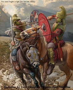 Fight of two Roman horsemen, the end of II - III century. Roman Armor, Romulus And Remus, Ancient Armor, Classical Antiquity, Roman Soldiers, Roman History, Historical Art, Military Art, Roman Empire