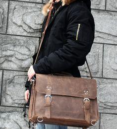 Vintage Crazy Horse Leather Backpack / Travel Bag / Briefcase / Satchel - 2 ways: backpack / messenger