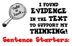 CCSS Textual Evidence Bulletin Board With 14 Sentence Starters More