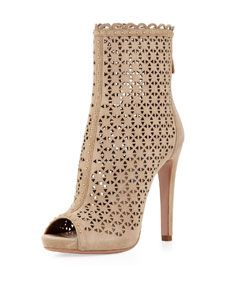 Perforated Suede Ankle Boot, Sand