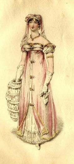 "La Belle Assemblee: April 1816: ""Saxe-Coburg Robe for Evening Full Dress."" She is holding a muff ""formed of white satin and gossamer silk trimming."""