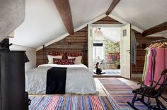 Rugs / Interior, Extraordinary Scandinavian Home Interior Design Ideas Traditional Scandinavian Attic Bedroom Design With Wooden Wall Decor And Black Finish Oak Wood Rocking Chair On Colorful Stripes Rustic Industrial Bedroom, Rustic Loft, Rustic Style, Modern Rustic, Rustic Contemporary, Modern Country, Country Living, Country Style, French Country