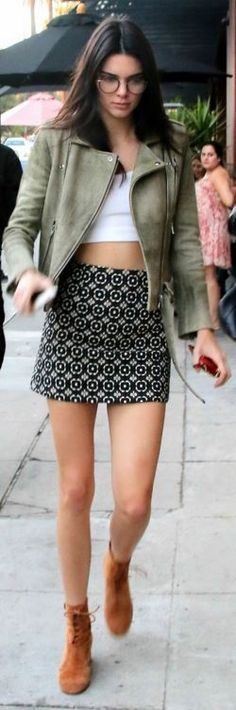 Kendall Jenner in Skirt – Related Apparel  Glasses – Garrett Leight  Shoes – Gianvito Rossi  Wallet – Louis Vuitton