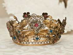 Rare Antique Jeweled French Crown ~ Moveable Flowers