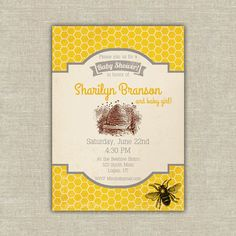 Printable Bee Baby shower invitation honey yellow beehive Digital File