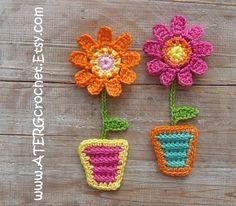 FLOWER magnet set 'mandarine/pink' by ATERGcrochet