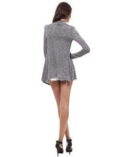 Black Heather Peppered Knit Draped Long Open Cardigan #11foxy