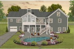 Construction-Ready Southern Country House Plan with Basement Foundation Printed Sets) Image 6 of 12 Basement House Plans, Ranch House Plans, Country House Plans, Walkout Basement, Basement Ideas, Villas, Southern Country Homes, Southern Style, Country Style