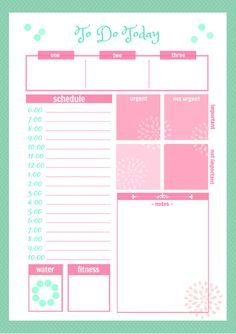 Cute Daily Docket Printable by SecretOwlSociety on Etsy, $5.00    Really like the grid of urgent & important, and the circle of water