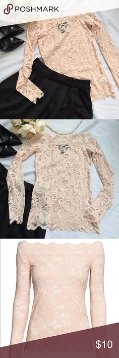H&M lace top This beautiful H&M off the shoulder lace top is a reposh and is NWOT.  It's a size 2 but fit a bit more snug than I'm comfortable with.  It's a sheer top without lining in a blush pink color. Has a bit of stretch to it as well; 94% nylon & 6% spandex. H&M Tops Tees - Long Sleeve