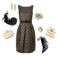 This comfortable and elegant gold and black cocktail dress is accessorized with a gold clutch and black heels. @Red Letter Everyday On-line Magazine #RLEveryday #eveningstyle #outfit