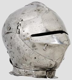 Early armet originate from the first half of the fifteenth century. Another special trait of this helmet are the hinges of the cheek-pieces, which are mounted on the rear and not, as usual, on the sides.