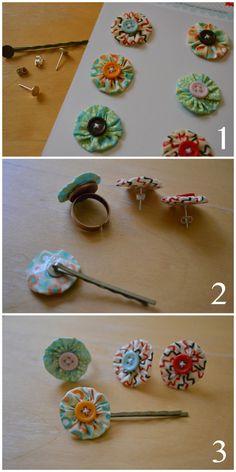 Use Scrapbooking Supplies to Make Jewlery. Yo Yo Jewlery, ring earrings and bobby pins.