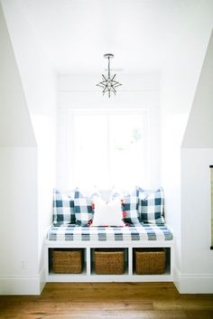 A perfect window seat moment from the loft. These buffalo check pillows will be available at our designer sale tomorrow! We hope to see you there! Modern Farmhouse, Farmhouse Decor, Farmhouse Style, Dormer Bedroom, Storage Bench Seating, Alcove Seating, Window Benches, Window Seats With Storage, Dormer Windows