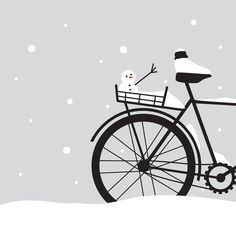 Bicycle & snow Art Print by Geminianum | Society6