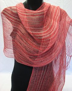Handwoven shawl in linen. by handwovenbykjerstin on Etsy