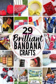 29 BRILLIANT Bandana Crafts & Decorating Projects! #bandana #bandanna #bandanacrafts #bandanaideas #bandanadecorations #bandanadecor #bandanapillow #bandanaheadband #bandanawreath #bandananapkin #bandanaquilt #dollartreebandana #dollarstorebandana