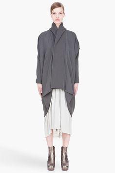 RICK OWENS grey Mountain Kite coat