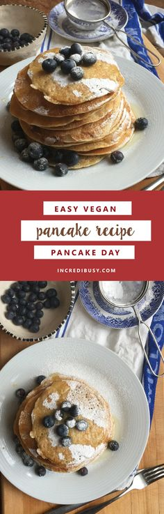 Really EASY and relatively quick vegan pancake recipe, easy to follow instructions, with NO banana! (and you don't need scales, just a cup!) No dairy - no eggs, just delicious!