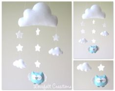 Baby mobile Heart mobile cloud mobile by lovefeltmobiles on Etsy