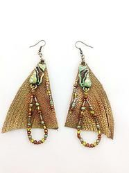 """Item E214  $20.00 Leather and beads earrings. 4"""" Leather hand painted with copper and lime paint, gold finish metal charm with rhinestones, olive, copper and lime glass beads; Antique gold hooks www.ndjdesigns.com"""