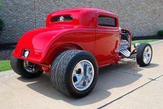 .Red Three Window Coupe Street Rod