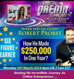 Live with Robert Probst at http://ihaveadreamshow.com in 1 hour!