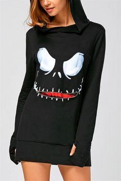 $16.09 Long Sleeve Mini Halloween Hoodie Dress