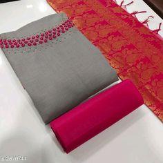 Dress Materials: Rubey Cotton Starting from : free COD WhatsApp Chudidhar Neck Designs, Salwar Neck Designs, Kurta Neck Design, Saree Jacket Designs, Sari Blouse Designs, Bridal Blouse Designs, Hand Embroidery Dress, Hand Embroidery Designs, South Indian Bride Saree