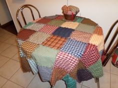 """Prim Raggy patchwork Table Cloth 60' by 60"""" by SandysQuiltnFabrics on Etsy"""