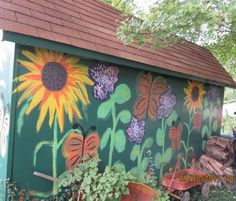 Powell Garden Shed Garden Fence Art, Garden Mural, Garden Signs, Garden Playhouse, Painted Garden Sheds, Painted Shed, Painted Fences, Outdoor Sheds, Outdoor Gardens