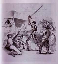 Don Quijote acuchilla a los títeres del retablo de Maese Pedro, de Tony Johannot (1836).