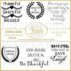 GRATITUDE QUOTES -INSTANT DOWNLOAD- #10416, The benefit of purchasing digital quotes is the ability of using the purchase over and over again. Purchase once, download onto your computer or tablet and you are ready to go! Use the images for your wedding, personalized family cards, baby showers, holidays and anniversaries.