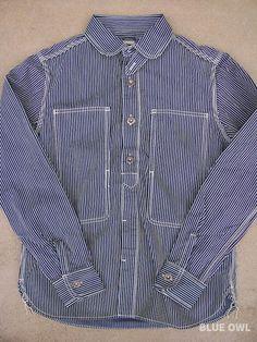 Denim Work Shirt in Indigo Stripe - Blue Owl Workshop