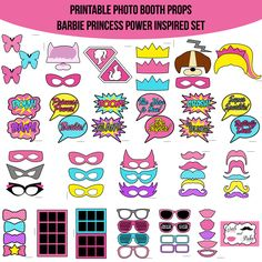 Instant Download Barbie Princess Power Inspired Super Hero Birthday Party Printable Photo Booth Props Photobooth Props by AmandaKPrintables on Etsy https://www.etsy.com/listing/234140473/instant-download-barbie-princess-power