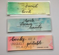 Excited to share the latest addition to my shop: Hand-lettered Watercolour Bookmarks Bookmarks Quotes, Best Bookmarks, Creative Bookmarks, Bookmarks For Books, Paper Bookmarks, How To Make Bookmarks, Handmade Bookmarks, Corner Bookmarks, Custom Bookmarks